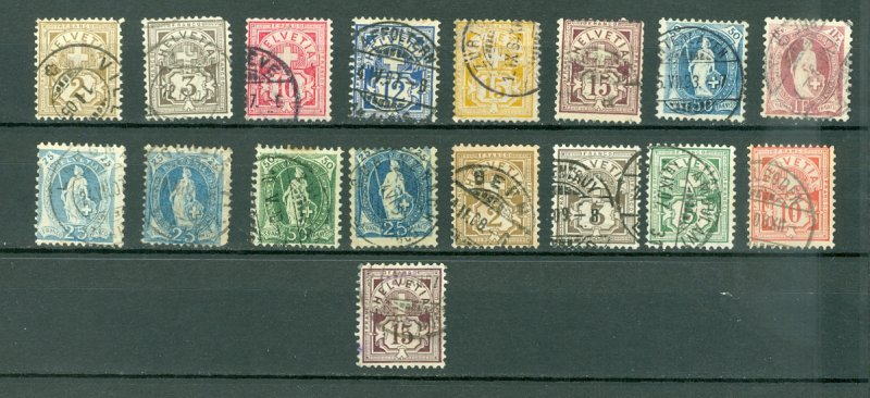 SWITZERLAND EARLY LOT of 17...USED NO THINS...$180.00