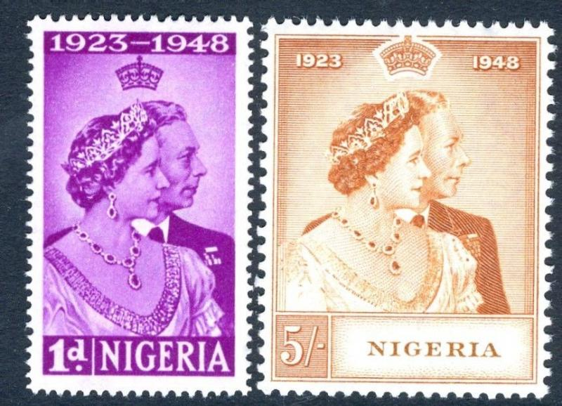 NIGERIA-1948 Royal Silver Wedding Set Sg 62-63 UNMOUNTED MINT V17446