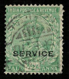 1912, India, SERVICE, 1/2 Anna, King George V (T-6071)