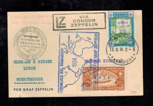 1932 Paraguay Graf Zeppelin Postcard Cover to Lorch Germany LZ 127