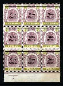 PERAK MALAYSIA 1900 One Cent Surcharge on 5c. Tigers BLOCK OF NINE SG 83 MINT