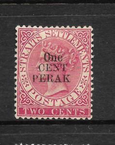 PERAK  1887-89  1c on  2c    QV      MH   SG 34
