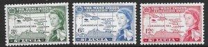 St Lucia 170-72   1958  set  3  VF NH