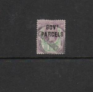 GOVERNMENT PARCELS ON 1½d VICTORIA  STAMP USED  REF 768