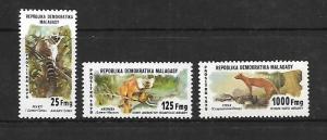 MALAGASY REPUBLIC, 594-596, MNH, FAUNA