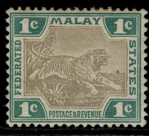 MALAYSIA - Federated Malay QV SG15b, 1c grey-brown & green, M MINT. Cat £15.