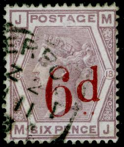 SG162, 6d on 6d lilac plate 18, FINE USED. Cat £150. MJ