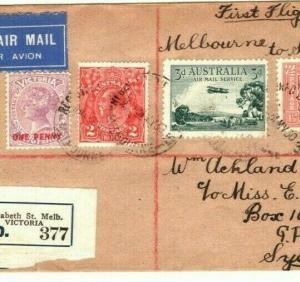 AUSTRALIA Air Mail First Flight Cover Melbourne Sydney 1930 {samwells} PA28