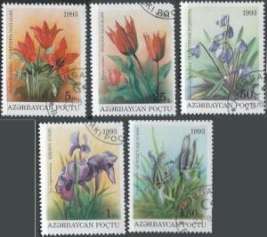 Azerbaijan 379-83 (used cto, short set) flowers (1993)