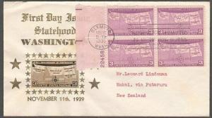 USA 1939 CROSBY photo FDC to New Zealand - Washington State backstamped....55561
