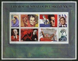 NICARAGUA WORLD LEADERS OF THE 20th CENTURY REAGAN de GAULLE LENIN SHEET MINT NH