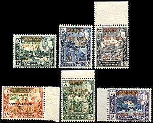 Kathiri State Michel 116-121, MNH, Astronauts black overprint variety