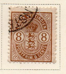 Danish West Indies Sc 30 1903 8c Coat of Arms stamp used