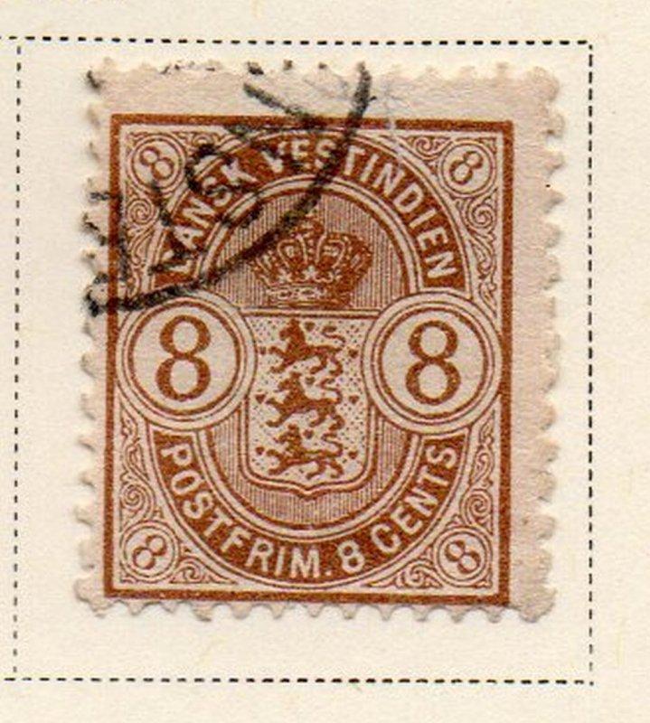 Danish West Indies Sc 30 1903 8c Coat of Arms stamp used