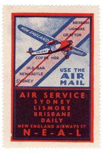 (I.B) Australia Cinderella : New England Airways Air Mail Label
