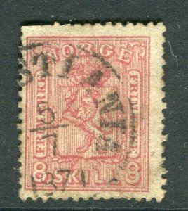 NORWAY; 1867 early classic Skilling issue used 8sk. value, Postmark