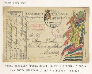 Italia 1919 POSTA MILITARE N.133 CENSURA 28 Italy WW1 Military Censor Postcard