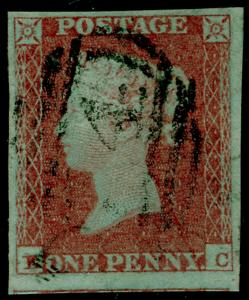 SG8, 1d red-brown PLATE 113, FINE USED. Cat £38. 4 MARGINS.