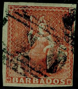 BARBADOS SG5, 4d Brownish Red, FINE USED, 4 MARGINS. Cat £275.
