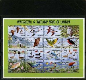 UGANDA 1995 BIRDS SHEET OF 16 STAMPS MNH