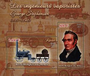 Mali Steam Engineer George Stephenson Souvenir Sheet of 2 Stamps Mint NH