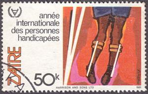Zaire # 1032 used ~ 50k Boy With Leg Braces