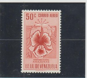 Venezuela  Scott#  C505  MH  (1951 Map of Amazonas & Orchid)