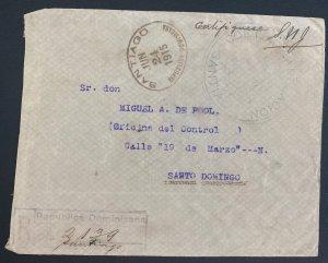 1915 Santiago Dominican Republic Registered cover to Santo Domingo Registered