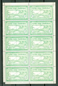 PORTO RICO 1938  SEMI-OFFICIALS SANABRIA #S6...SHEET of 10...MNH