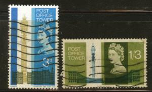 Great Britain Scott 438-9 used 1965 post office tower set