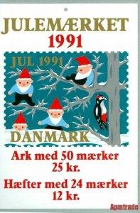 Denmark. Christmas Seal. 1991.1 Post Office,Display,Advertising Sign.Santa,Birds