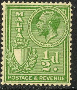 MALTA 1930 KGV 1/2d Green Postage & Revenue Inscribed Portrait Issue Sc 168 MLH