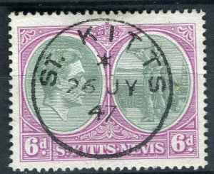 ST.KITTS; 1938 early GVI issue fine used 6d. value fine Postmark