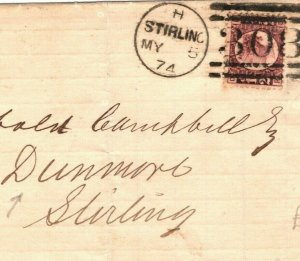 GB SCOTLAND Cover ½d Stirling *Dunmore Colliery* 1874 {samwells-covers} EA26