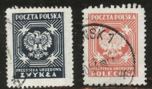 Poland Scott o27-28 used 1950-53 Official set