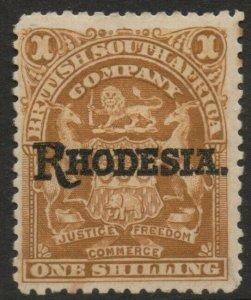 RHODESIA-1909-12 1/- Bistre Sg 107 MOUNTED MINT V37751