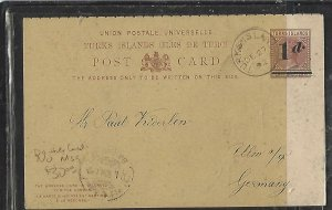 TURKS ISLANDS  (PP1109BB)  1D/ 1 1/2D REPLY PSC SENT TO GERMANY, NO MSG