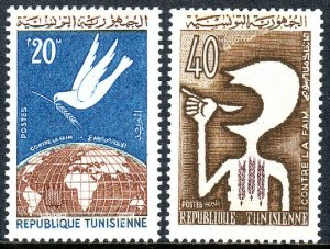 Tunisia 435-436,MNH.FAO Freedom from Hunger campaign.Dove,Globe;Hunger,1963