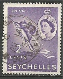 SEYCHELLES, 1954, used 2c, Sailfish Scott 173