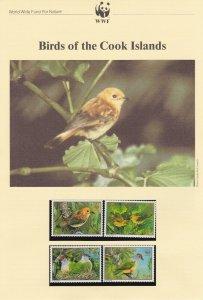 WWF172) WWF Panda, FDC, Birds, Cook Islands, 4 Oct 1989