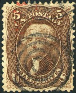 1863 US #76 A26 5c Genuine Used Bullseye Cancel Catalogue Value $120