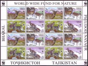 Tajikistan WWF Bharal Sheetlet of 4 sets SG#282-285 MI#392-395 SC#266 a-d