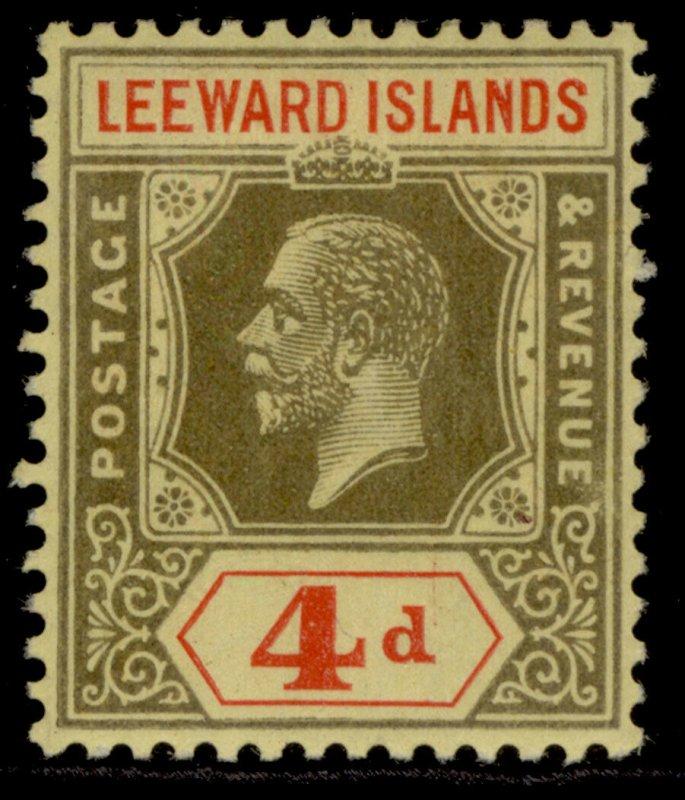 LEEWARD ISLANDS GV SG52, 4d black & red/pale yellow, LH MINT.