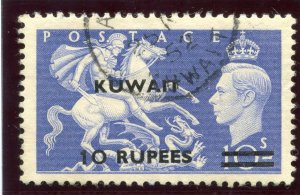Kuwait 1951 KGVI 10r on 10s ultramarine (Surch Type I) VF used. SG 92. Sc 101.