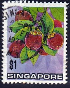 Singapore #198 Mangosteen Fruit, 1973. Used, SF