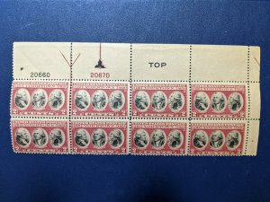 U.S. 703 plate # block of 8, 2# & TOP, arrow and marker, CV $5