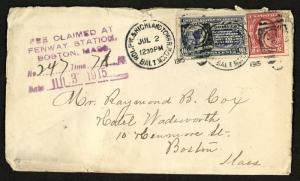 1915 # E8 SPECIAL DELIVERY Cover w/ BOSTON FEE AUXILIARY Mark