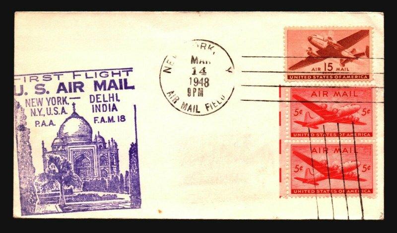 US 1948 FFC NY to Delhi - Z17575