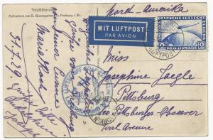 Germany Scott #C36 on Zepplin Air Mail Cover Post Card