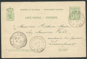 LUXEMBOURG 1889 5c postcard DIFFERDANCE cds................................42461